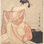 日本-喜多川歌麿-女人和猫