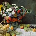 印象派 莫奈 静物·花和水果