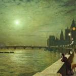 英国-约翰·阿特金森·格里姆肖-泰晤士河上的月影