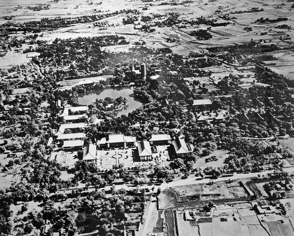 1945年,航拍北平-燕京大學鸟瞰。