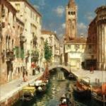 鲁本斯·桑托罗的意大利水乡油画
